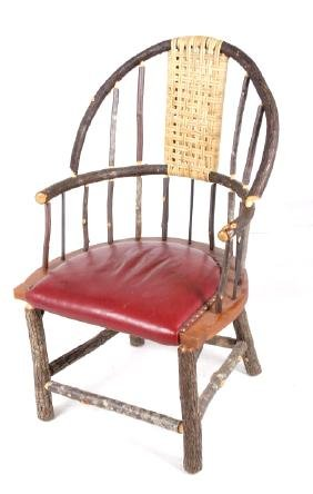 Primitive Hickory & Wicker Upholstered Chair