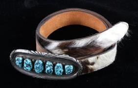Navajo Sterling Silver Turquoise Buckle & Belt