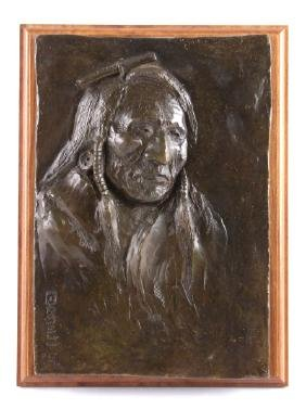 Ace Powell Native American Bronze Bas-Relief