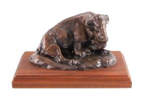 "Charles Russell ""Lone Buffalo"" Bronze Sculpture"