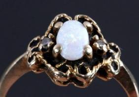 Australian Opal & Diamond 10K Gold Ring EXCELLENT