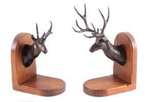Carl Jensen Bronze Mule Deer and Antelope Bookends