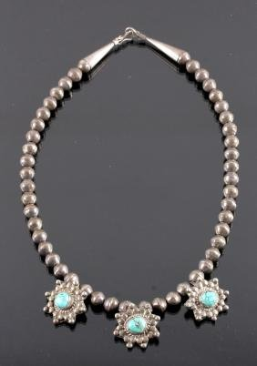 Navajo Sterling Silver Turquoise Necklace