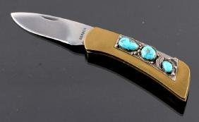 Navajo Sterling Silver Turquoise Custom Knife