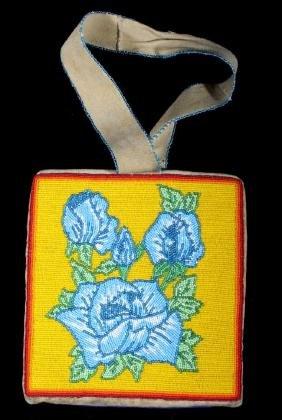 Nez Perce Floral Beaded Buckskin Flat Bag