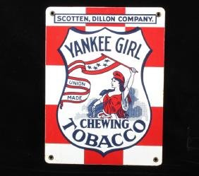 Yankee Girl Chewing Tobacco Porcelain Enamel Sign