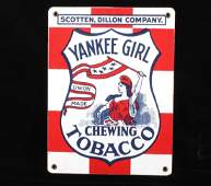 Yankee Girl Chewing Tobacco Porcelain Enamel Sign