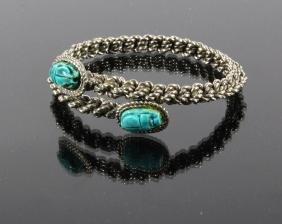 Faience Pottery Egyptian Scarabs & Silver Bracelet