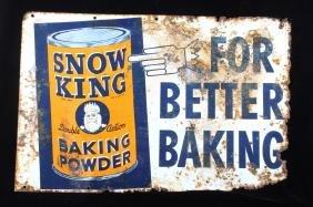Snow King Baking Powder Metal Advertisement Sign