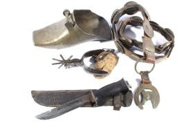 Early Western Bronze Belt, Spur, Knife, & Stirrup