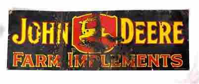 John Deere Three Leg 3-Color Porcelain Sign 1912-