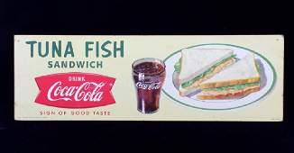1958 Coca Cola Tuna Fish Advertising Sign RARE