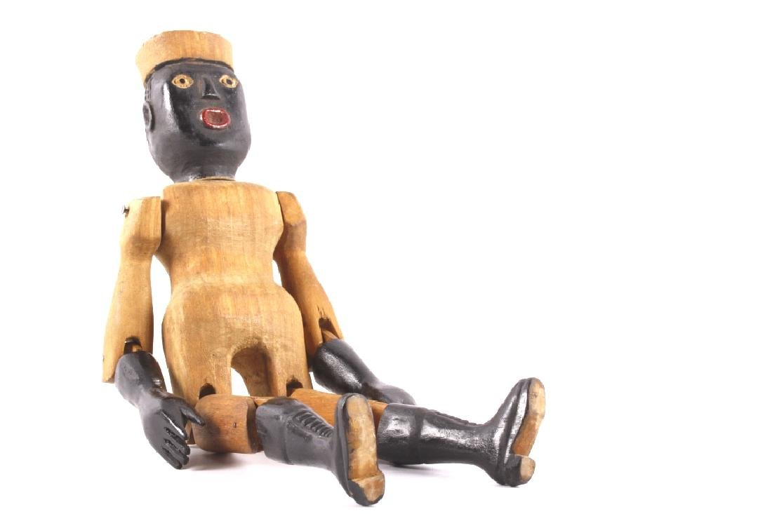 Carved Wooden Black Folk Art Doll