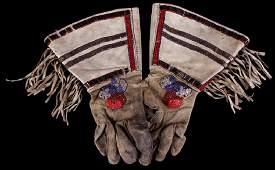 Nez Perce Beaded Gauntlet Gloves 19th-20th Century