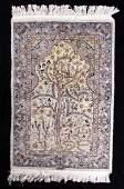 Signed Kerman Persian Tree of Life Prayer Rug