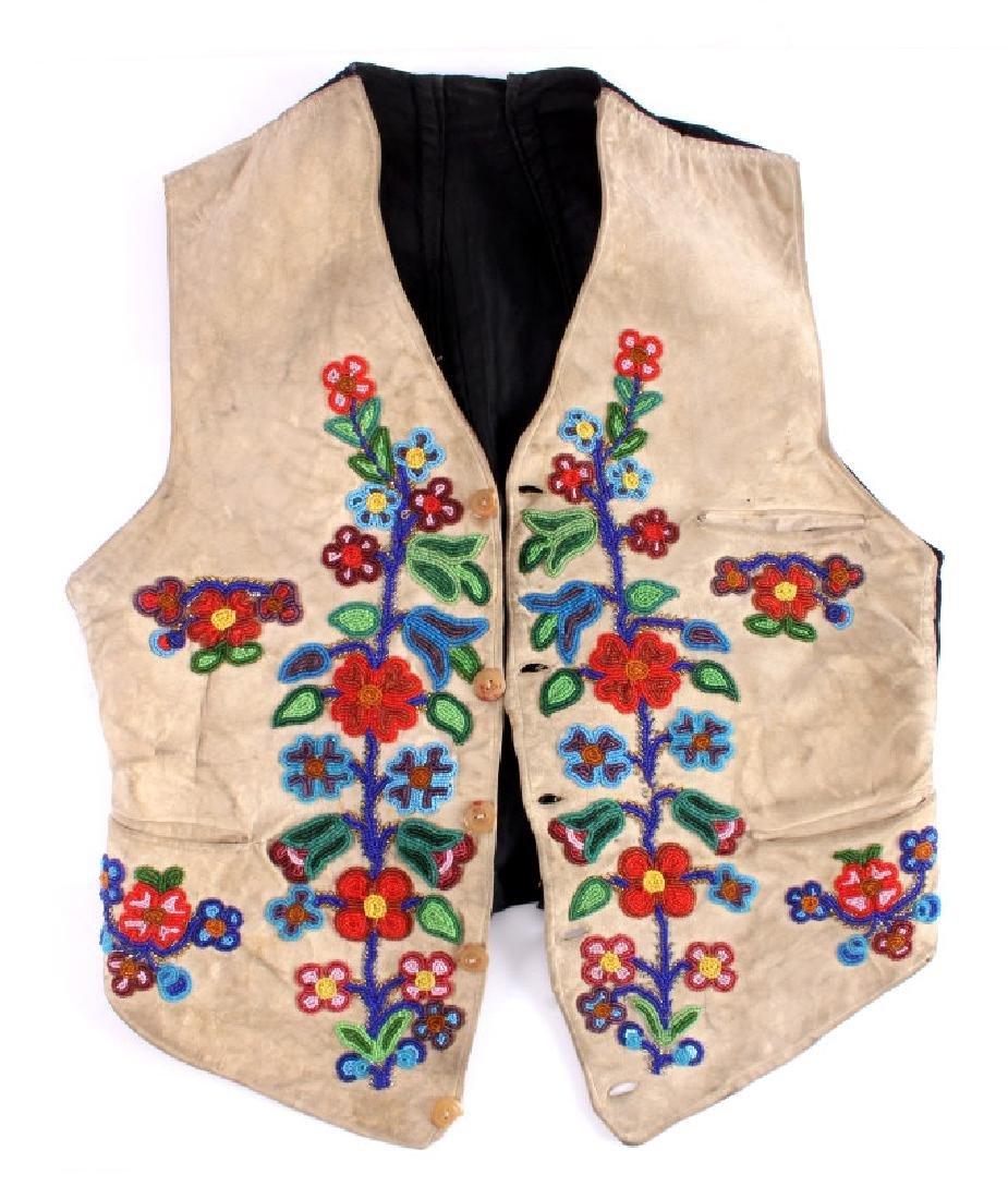 Cree Floral Beaded Vest circa 1900-1940