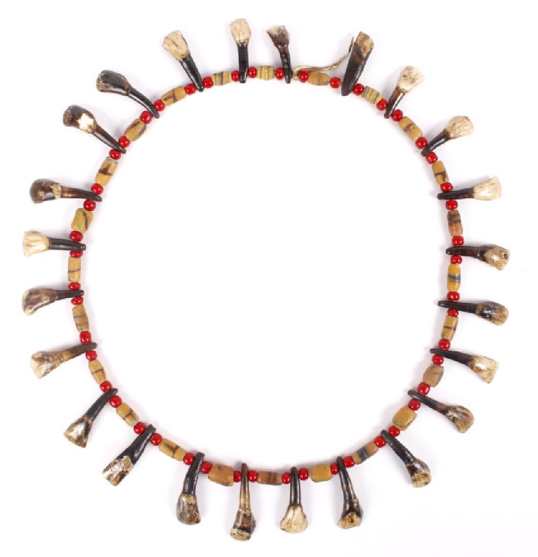 Northern Plain Buffalo Teeth & Trade Bead Necklace