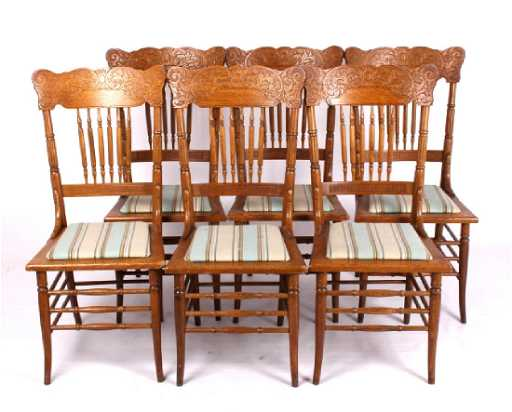- Set Of 6 Antique Pressed Back Oak Chairs