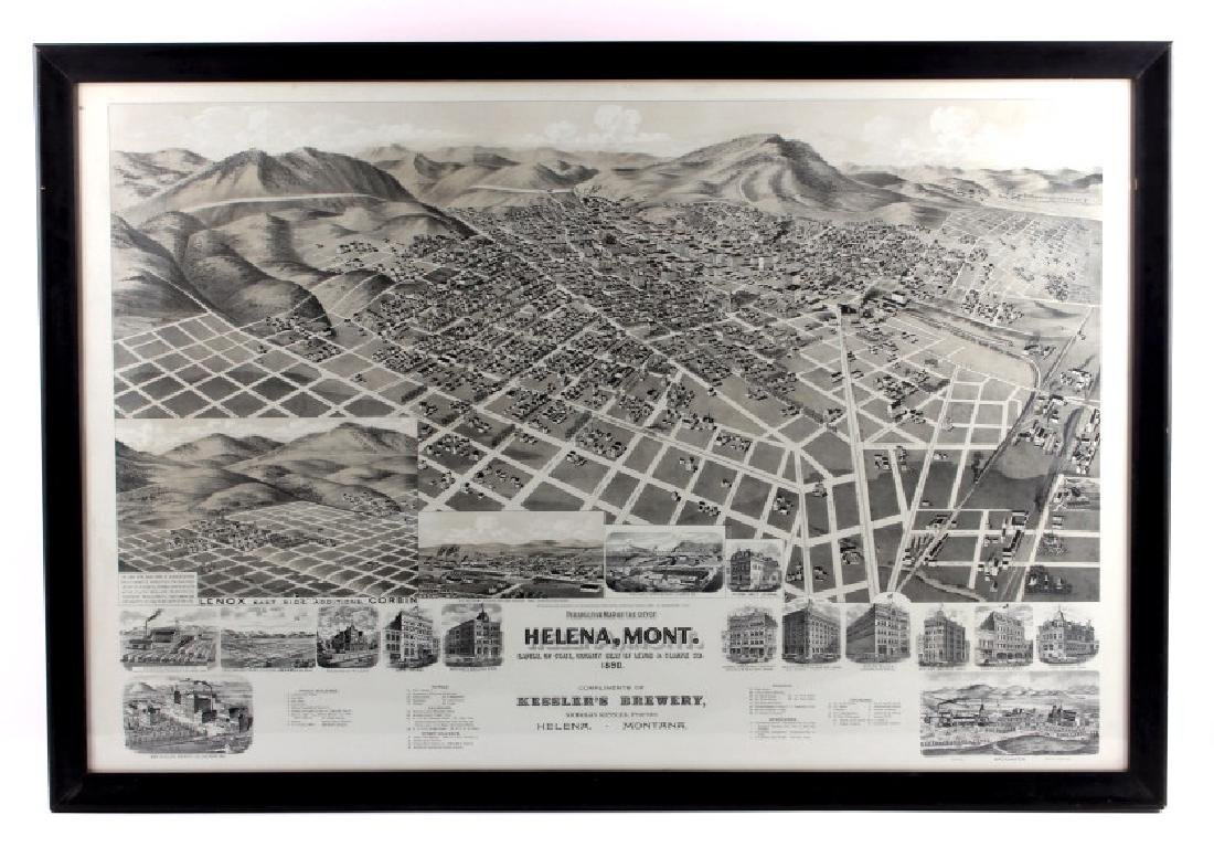 1890 Kessler Brewery Map of Helena Montana