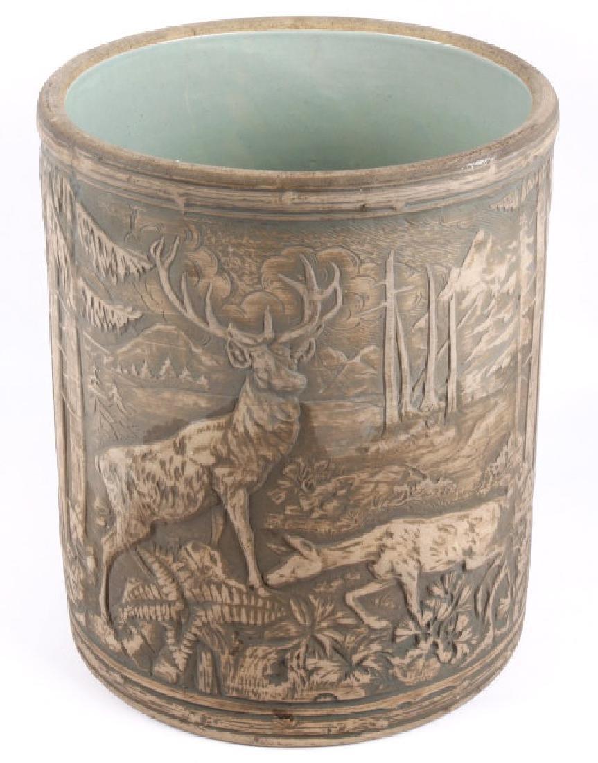 Redwing Stoneware Elk Stag Yelloware Crock
