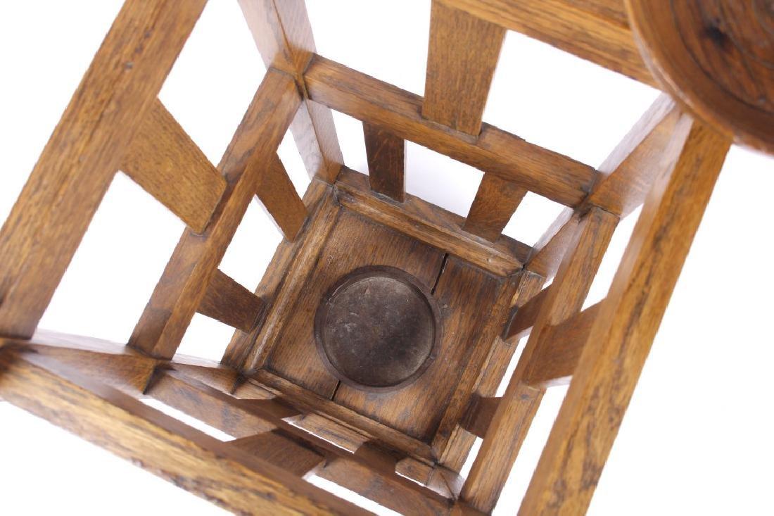 Mission Style Oak Umbrella Stand - 7