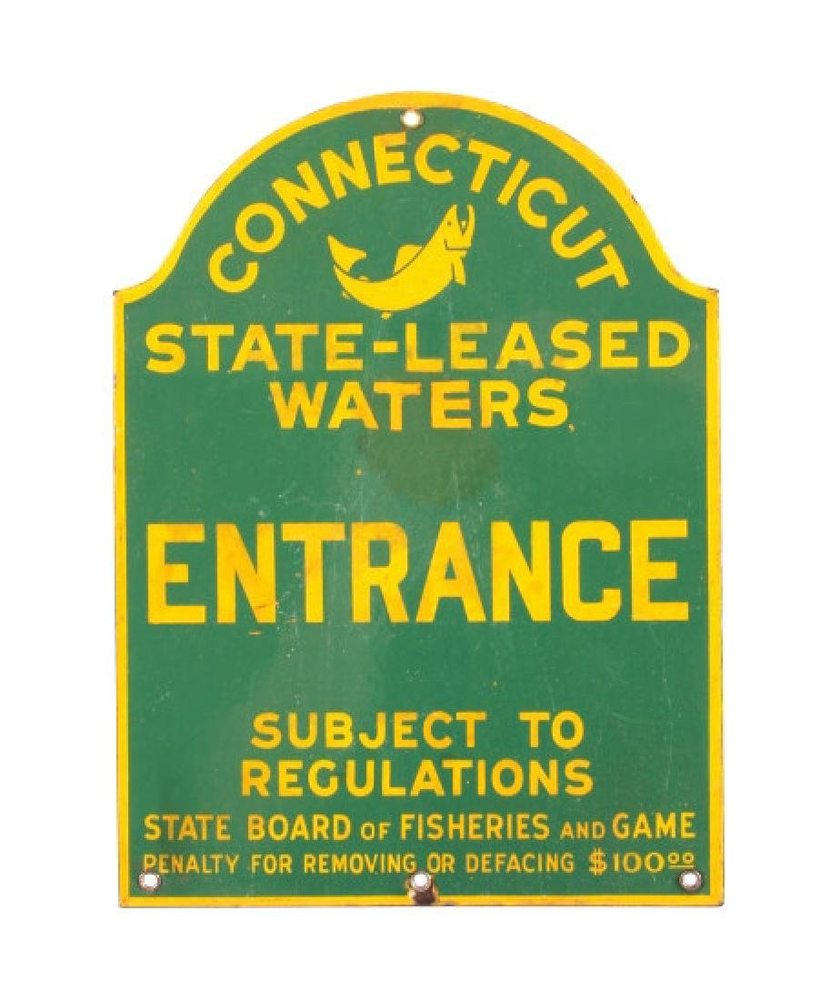 Connecticut Board of Fisheries Porcelain Sign