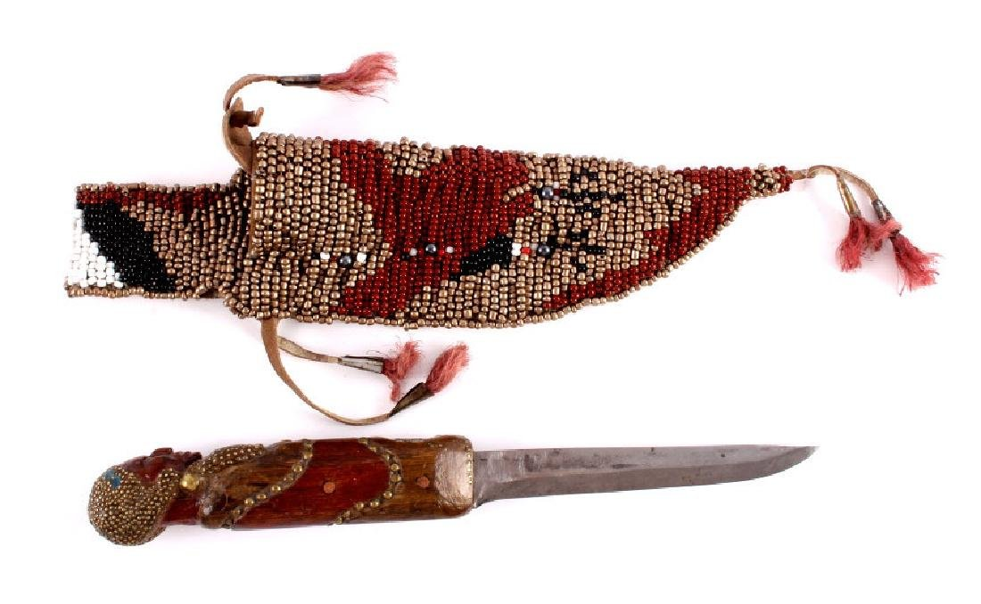 Indian Pictorial Beaded Knife and Scabbard