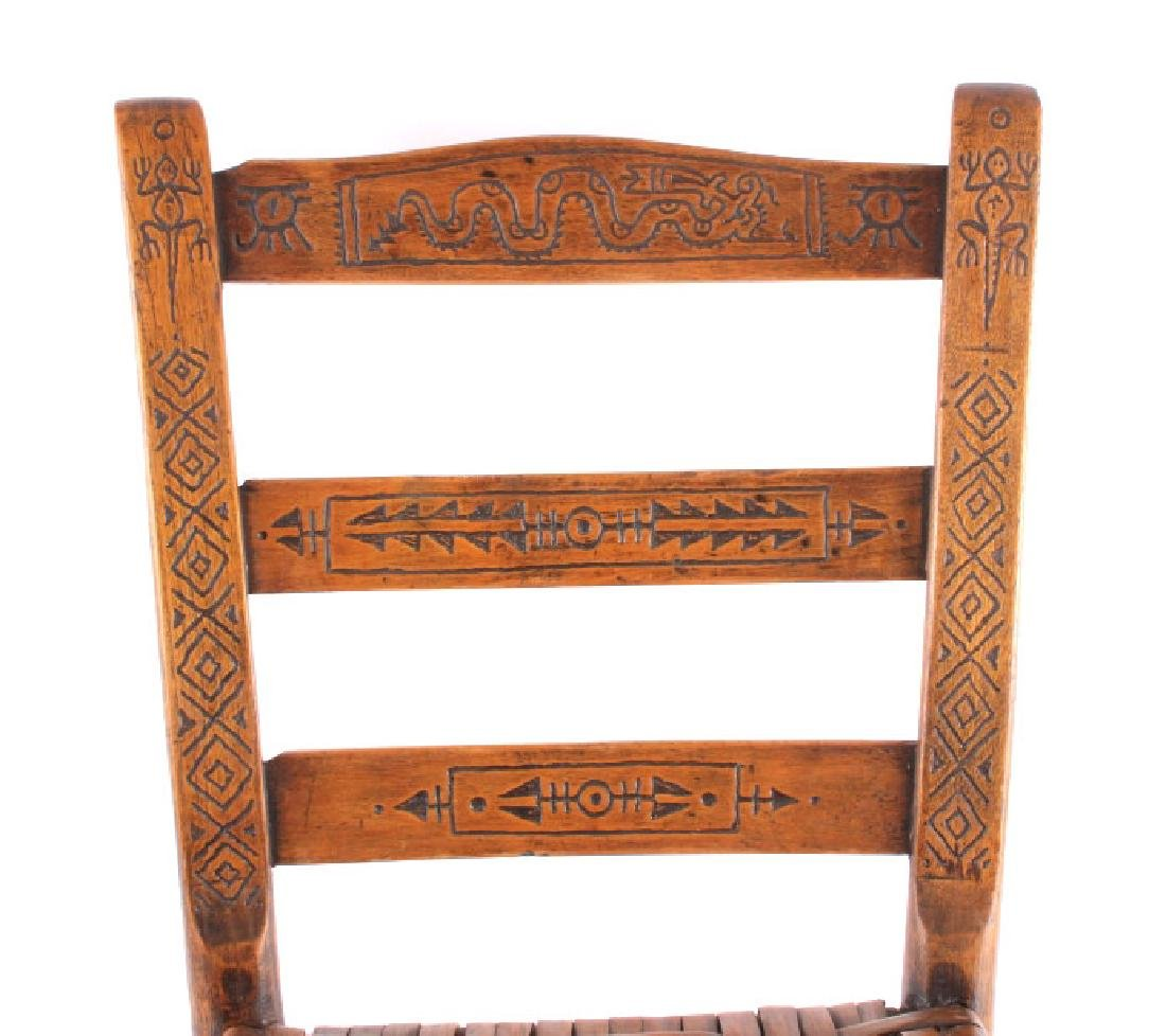 Hopi Native American Indian Carved Effigy Chair - 3