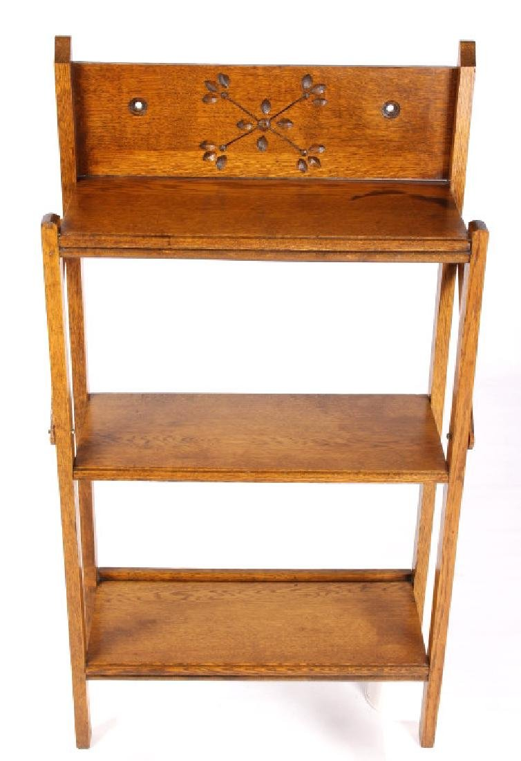 Oak Spoon Carved Collapsible Book Shelf 19th. C