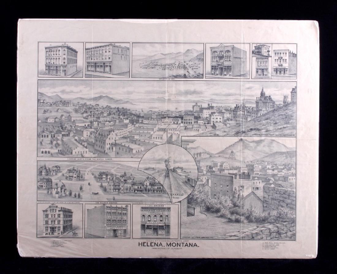 c.1890 Helena Montana Lithograph
