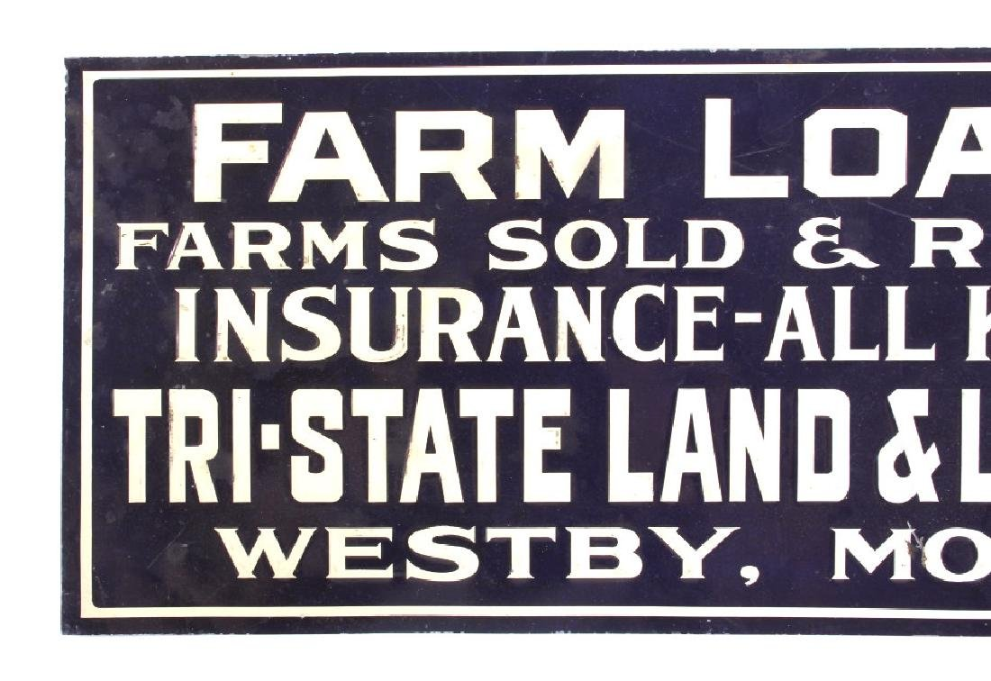 Original Westby Montana Farm Loans Sign Early 1900 - 2