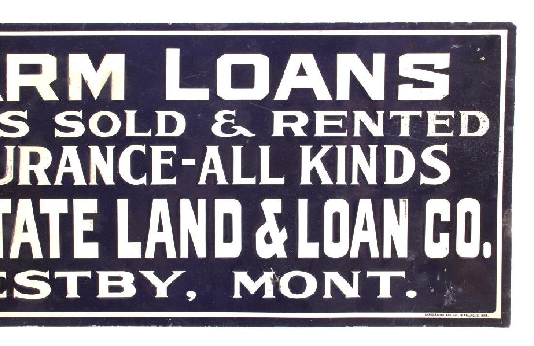 Original Westby Montana Farm Loans Sign Early 1900 - 3