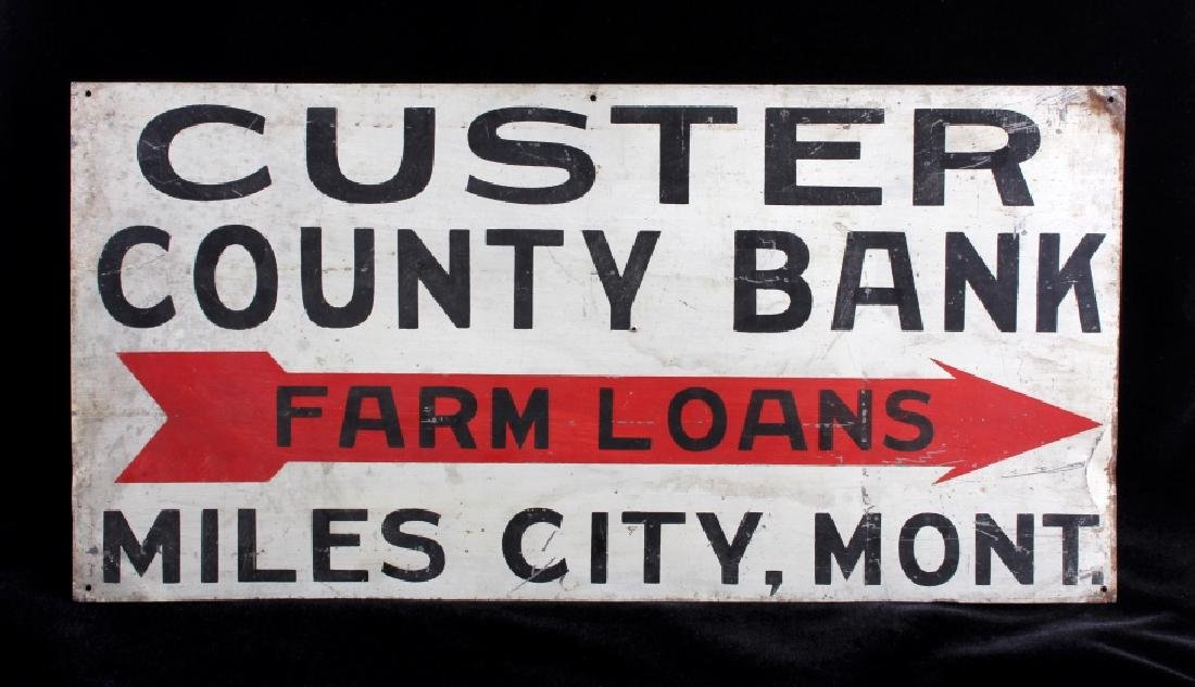 Custer County Bank Sign from Miles City Montana