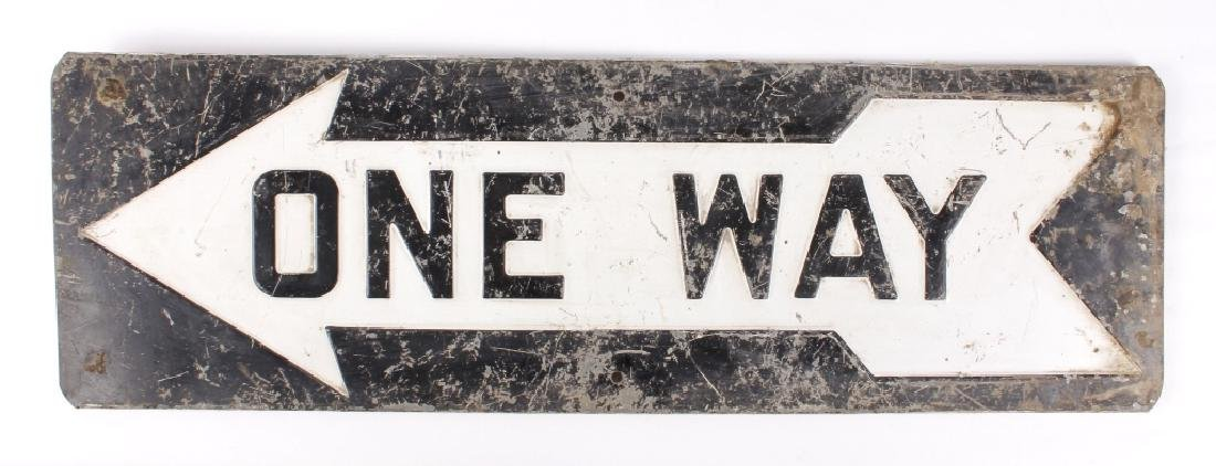 """Early """"One Way"""" Embossed Iron Road Sign"""