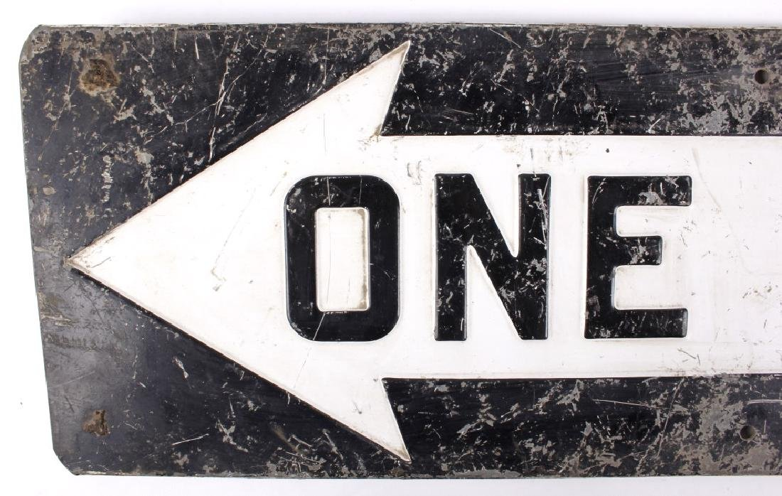 "Early ""One Way"" Embossed Iron Road Sign - 3"