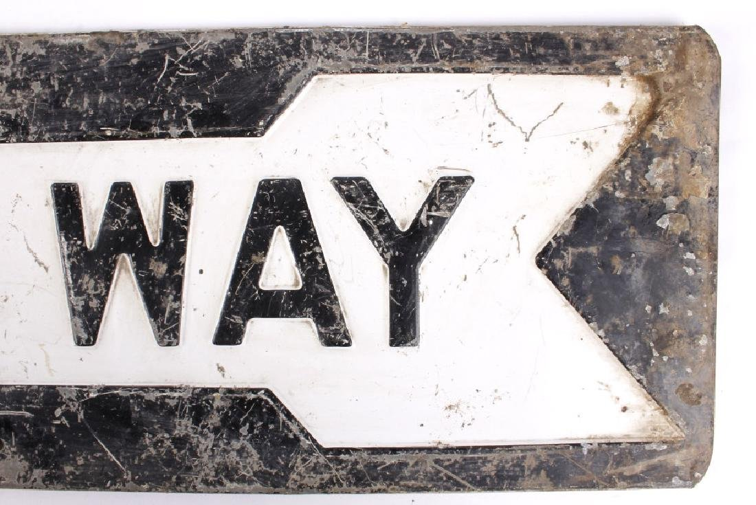 "Early ""One Way"" Embossed Iron Road Sign - 4"
