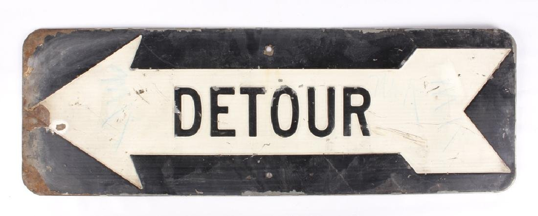 Early Embossed Iron Detour Road Sign