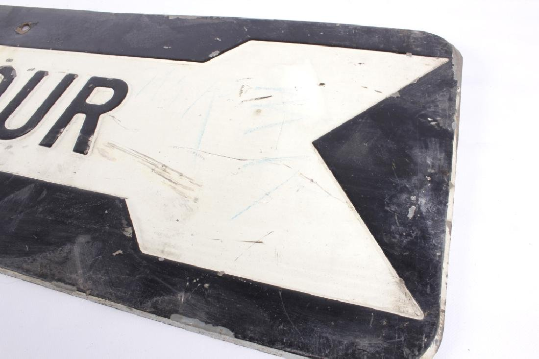 Early Embossed Iron Detour Road Sign - 3