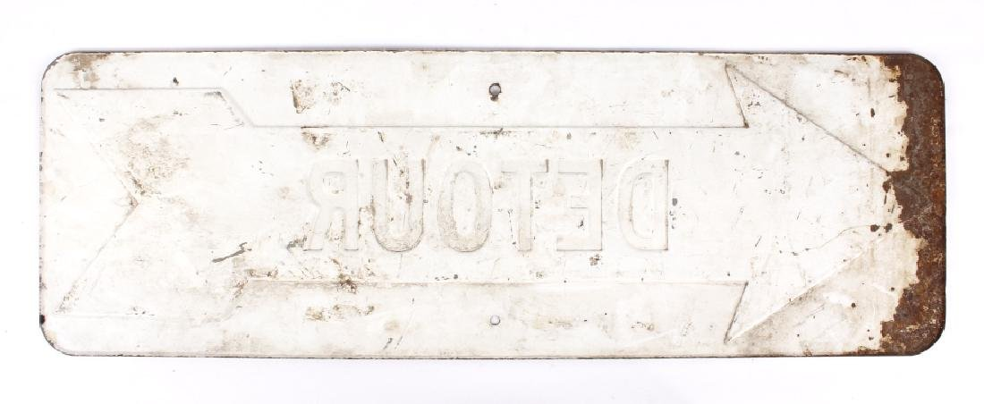 Early Embossed Iron Detour Road Sign - 5