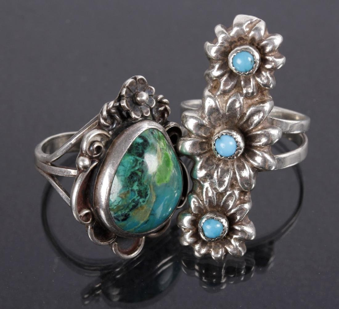 Navajo Floral Pattern Sterling & Turquoise Rings
