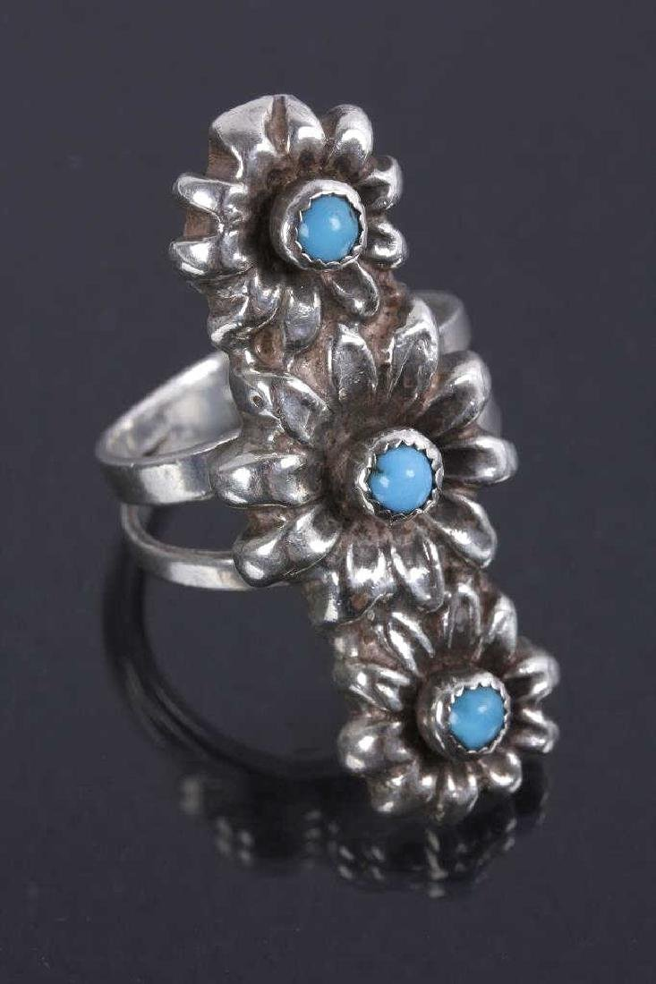 Navajo Floral Pattern Sterling & Turquoise Rings - 2
