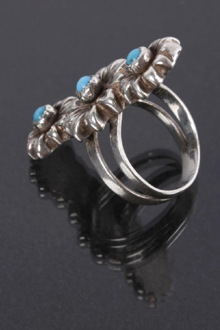 Navajo Floral Pattern Sterling & Turquoise Rings - 3