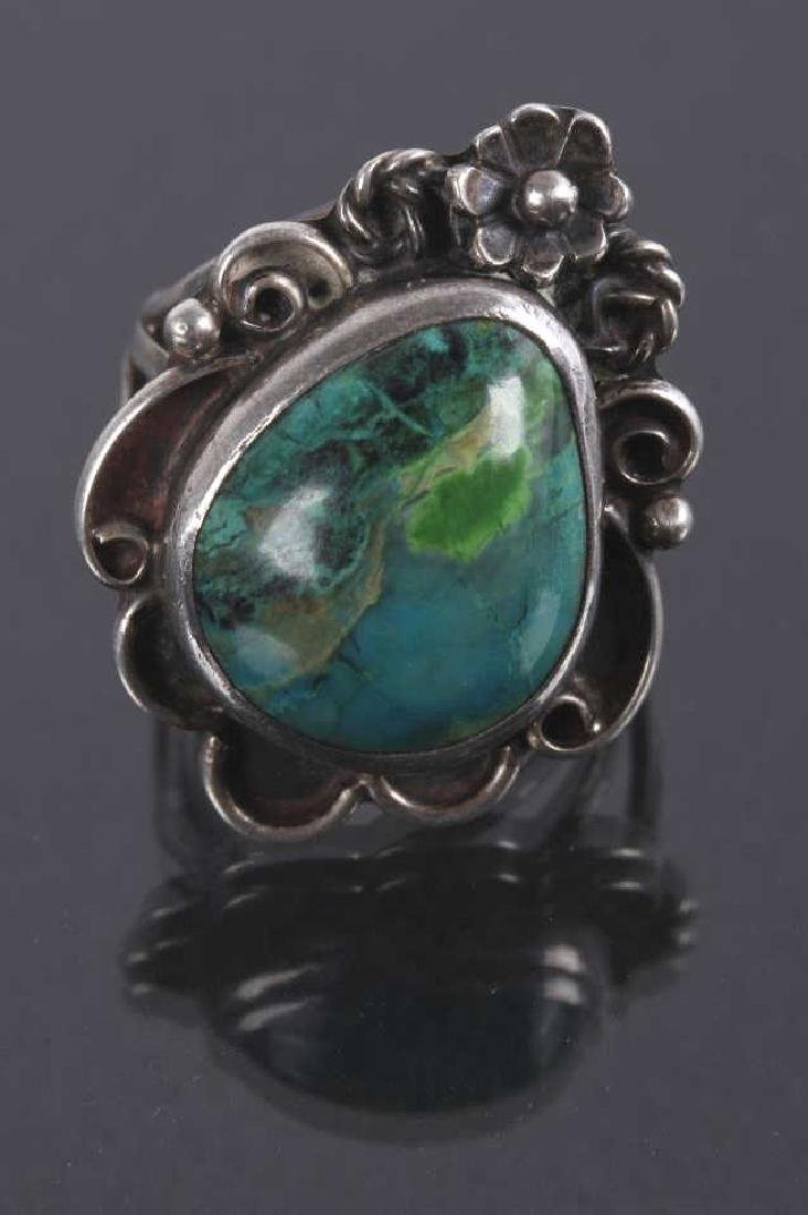 Navajo Floral Pattern Sterling & Turquoise Rings - 4