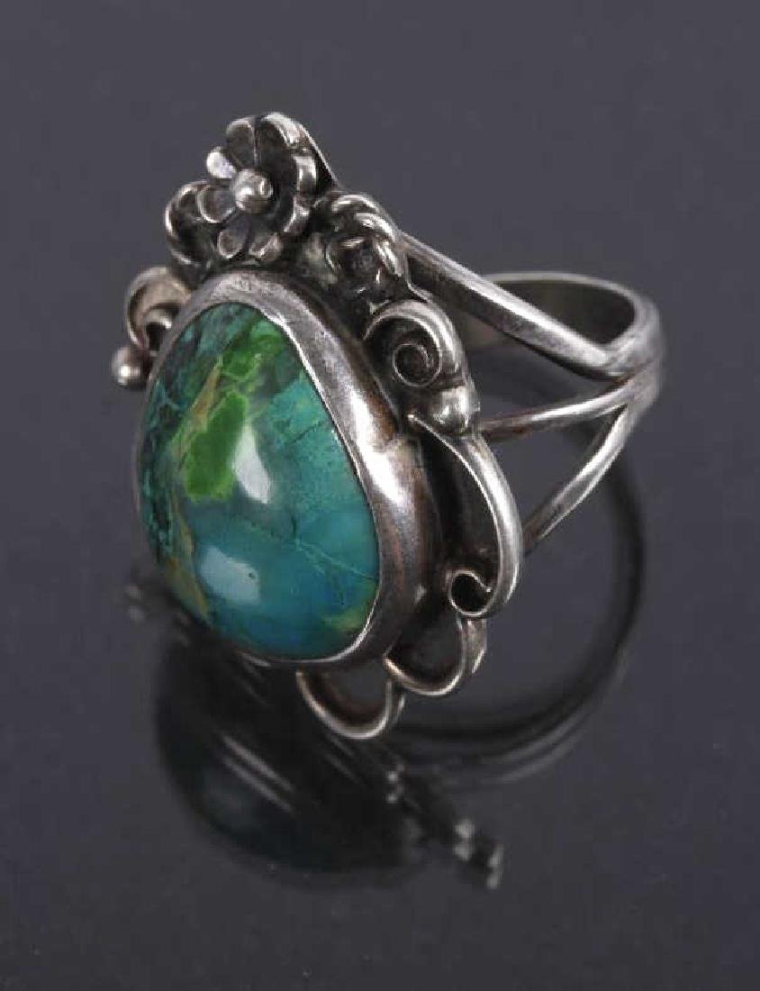 Navajo Floral Pattern Sterling & Turquoise Rings - 5