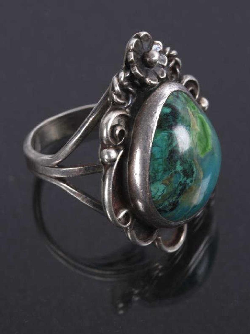 Navajo Floral Pattern Sterling & Turquoise Rings - 6