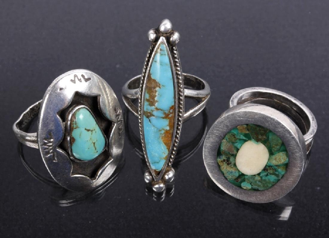 Navajo Sterling Silver & Inlaid Turquoise Rings