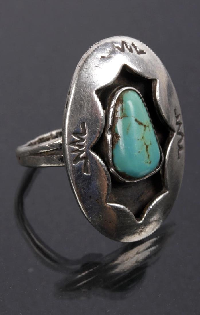 Navajo Sterling Silver & Inlaid Turquoise Rings - 2