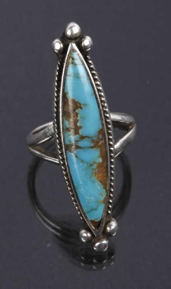 Navajo Sterling Silver & Inlaid Turquoise Rings - 4