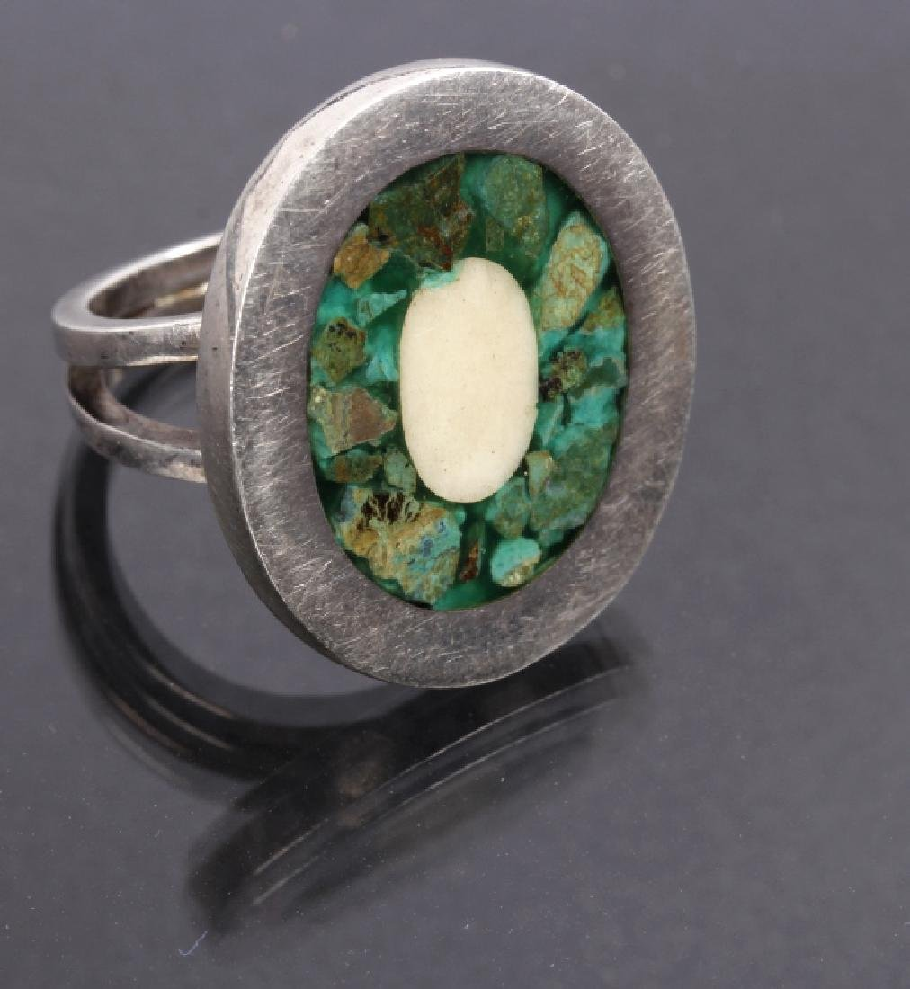 Navajo Sterling Silver & Inlaid Turquoise Rings - 6