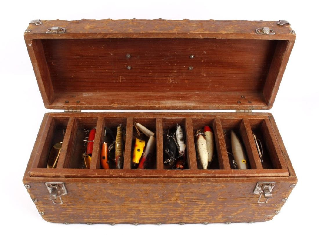 Antique Wooden Loaded Tackle Box - 2